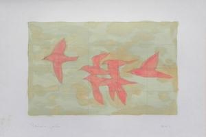 Six pink birds