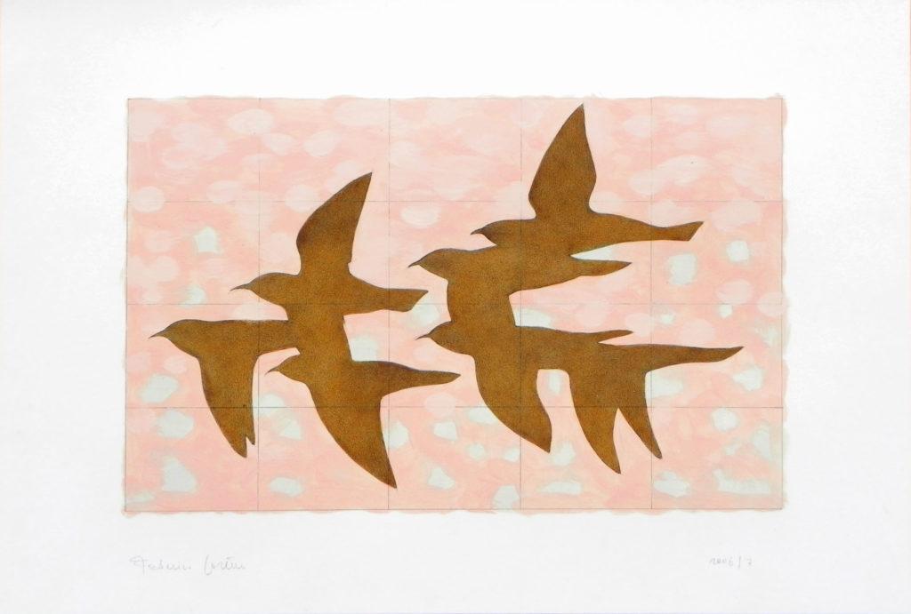 Six birds in pink sky