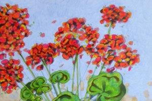 ★ Geraniums I. Oil on paper, 30 x 44 cm, 2016 (SOLD)