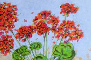 ★ Geraniums I. Oil on paper, 30 x 44 cm, 2016 (SOLD)