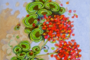 Geraniums II. Oil on paper, 30 x 44 cm, 2016.