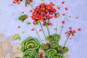 Geraniums III. Oil on paper, 30 x 44 cm, 2016.
