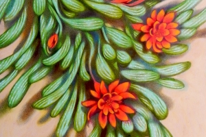 Red flowers II. Oil on paper, 30 x 44 cm, 2016.