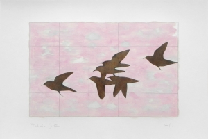 Six birds in pink sky