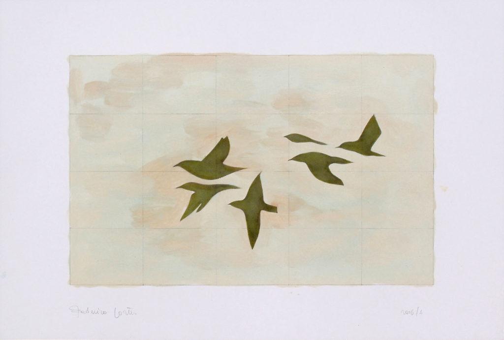 Six green pigeons